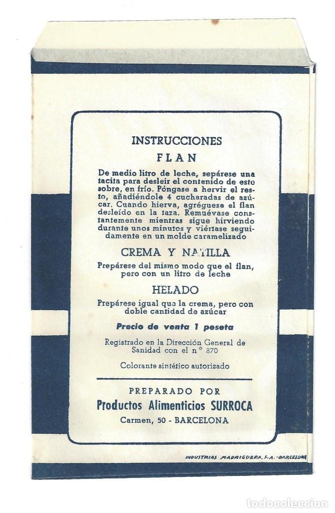 Etiquetas antiguas: SOBRE- SURROCA. FLAN DELICIOSO POSTRE VAINILLA- BARCELONA (RECETA EN EL REVERSO) - Foto 2 - 205684027
