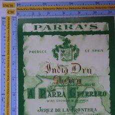 Etiquetas antiguas: ETIQUETA DE BEBIDAS. VINOS LICORES. INDIA MEDIUM SHERRY PARRA GUERRERO JEREZ. 124. Lote 205866993