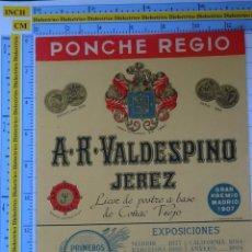 Etiquetas antiguas: ETIQUETA DE BEBIDAS. VINOS LICORES. PONCHE GUERRERO VALDESPINO JEREZ GRAN PREMIO 1907. 126. Lote 205867043
