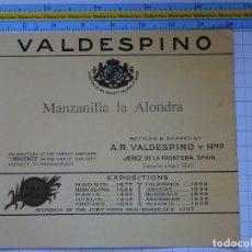 Etiquetas antiguas: ETIQUETA DE BEBIDAS. VINOS LICORES. MANZANILLA LA ALONDRA VALDESPINO. 130. Lote 205867141