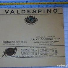 Etiquetas antiguas: ETIQUETA DE BEBIDAS. VINOS LICORES. VALDESPINO PRIMEROS PREMIOS. 131. Lote 205867163
