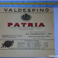 Etiquetas antiguas: ETIQUETA DE BEBIDAS. VINOS LICORES. AMONTILLADO SHERRY VALDESPINO PRIMEROS PREMIOS. 132. Lote 205867187