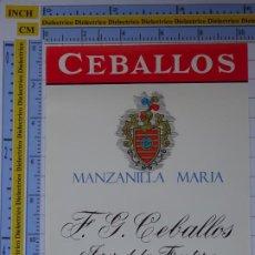 Etiquetas antiguas: ETIQUETA DE BEBIDAS. VINOS LICORES. MANZANILLA MARIA CEBALLOS. JEREZ DE LA FRONTERA. 144. Lote 205867417