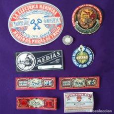 Etiquetas antiguas: 9 ETIQUETAS DIFERENTES DE VITORIA, ARAYA, BILBAO Y VALENCIA. DE 1920 A 1940. FERROCARRIL, FARMACIA... Lote 206347521