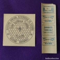 Etiquetas antiguas: 2 ETIQUETAS DE ALAGON (ZARAGOZA). SOCIEDAD GENERAL AZUCARERA. AZUCAR REFINADO. AÑOS 50.. Lote 206348240