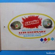 Etiquetas antiguas: SAPIÑA, MELONES SANDIAS, LLUIS LLEONART, BARCELONA - PRUEBA IMPRENTA COLORES - AÑOS 1960. Lote 206357163