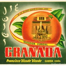 Etiquetas antiguas: LOTE 25 ETIQUETAS NARANJAS - MARCA GRANADA - FRANCISCO VICEDO GANDIA. Lote 206442213