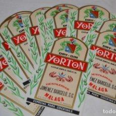 Etiquetas antiguas: YORTON - LOTE 20 ETIQUETAS - DRY-GIN GINEBRA SECA / YORTON - JIMÉNEZ BARCELÓ, S.C. / MÁLAGA ¡MIRA!. Lote 206483076
