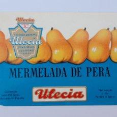 Etiquetas antiguas: ULECIA, MERMELADA DE PERA. Lote 206570240