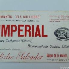 Etiquetas antiguas: IMPERIAL, AGUA CARBÓNICA NATURAL.PEDRO SALVADOR. Lote 206571001