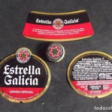 Etiquetas antiguas: CERVEZA-V9-K-I-ETIQUETAS Y CHAPA-ESTRELLA GALICIA. Lote 207081207