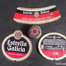 Etiquetas antiguas: CERVEZA-V9-K-I-ETIQUETAS Y CHAPA-ESTRELLA GALICIA. Lote 207081291