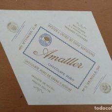 Etiquetas antiguas: ENVOLTORIO CHOCOLATE AMATLLER Nº 9 VAINILLA LETRAS EN RELIEVE PUBLICIDAD. Lote 207682935