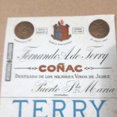 Etiquetas antigas: REPRODUCCIÓN ETIQUETA COÑAC TERRY. Lote 207955337