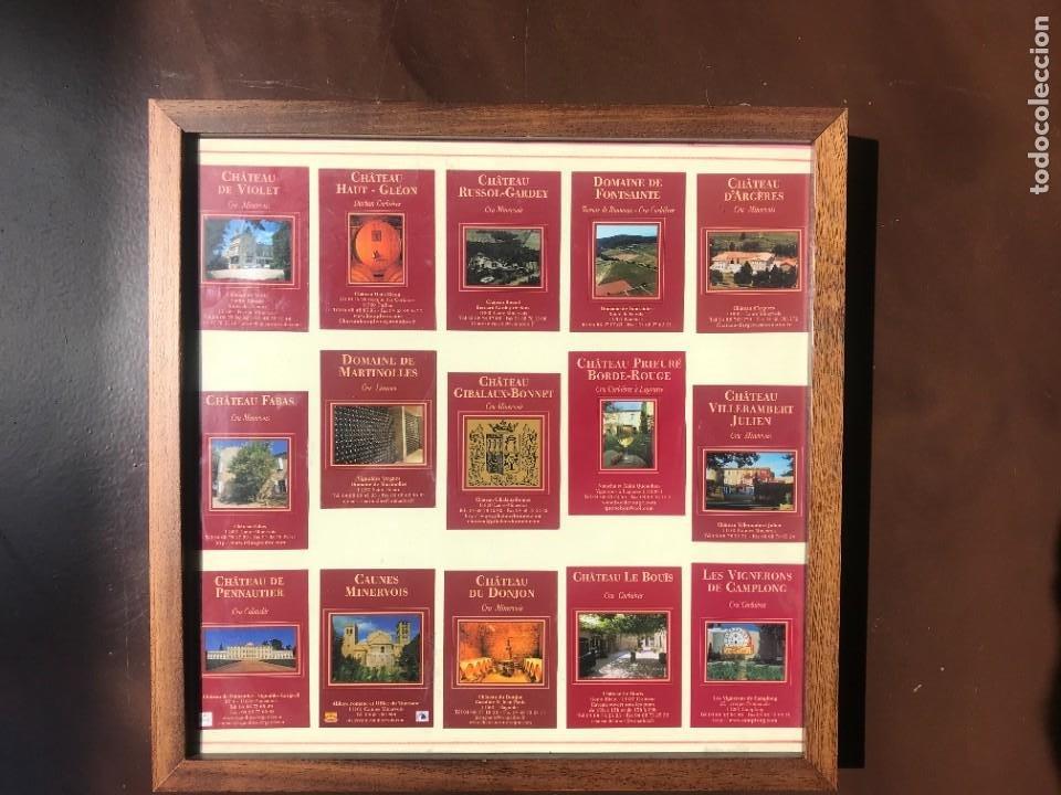 Etiquetas antiguas: Lote 15 Preciosas Etiquetas de Vinos Bodegas Francesas - AÑOS 70 - ENMARCADAS - Foto 2 - 208285417