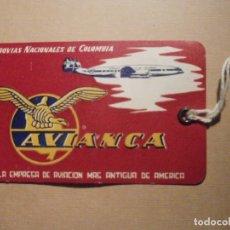 Etiquetas antiguas: ETIQUETA EQUIPAJE MANO CABINA LINEAS AEREAS NACIONALES DE COLOMBIA, AVIANCA AIR LINES - 7CM X 11,5CM. Lote 208841578