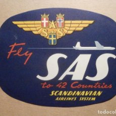 Etiquetas antiguas: ETIQUETA LINEAS AEREAS - AIR LINES - SAS - SCANDINAVIAN AIRLINES SYSTEM - 10,5 CM X 12,5 CM. Lote 208908668