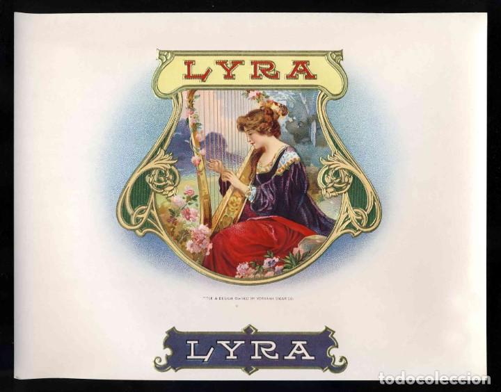 ETIQUETA DE TABACO MODERNISTA LYRA, EN RELIEVE (Coleccionismo - Etiquetas)