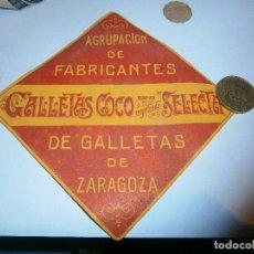 Etiquetas antiguas: CAJITA AÑOS 30 40¡¡ PUBLICITARIA ,GALLETAS COCO ZARAGOZA.FABRICANTES. Lote 210177196