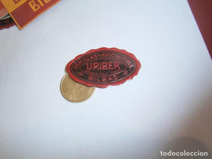 ETIQUETA PUBLICITARIA, AÑOS 30,40. SEMILLAS AVICULTURA URIBER (BILBAO) (Coleccionismo - Etiquetas)