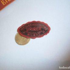 Etiquetas antiguas: ETIQUETA PUBLICITARIA, AÑOS 30,40. SEMILLAS AVICULTURA URIBER (BILBAO). Lote 210209327