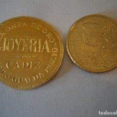 Etiquetas antiguas: ETIQUETA PUBLICITARIA, AÑOS 30,40. LA ONZA DE ORO RICARDO GUALDA PUEYO JOYERIA (CADIZ). Lote 210217231