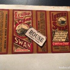 Etiquetas antiguas: ANTIGUA ETIQUETA PUBLICITARIA - LUSTRE CISNE SWAN - NUEVA-YORK .BARÑA . PARIS. LONDRES. Lote 210633509