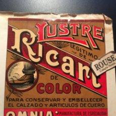 Etiquetas antiguas: ANTIGUA ETIQUETA PUBLICITARIA - LUSTRE LEGITIMO RICART DE COLOR ''OMNIA''BARCELONA. Lote 210633853