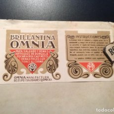 Etiquetas antiguas: ANTIGUA ETIQUETA PUBLICITARIA - BRILLANTINA ''OMNIA'' PARA EL CALZADO BARCELONA. Lote 210634447