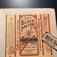 Etiquetas antiguas: ANTIGUA ETIQUETA PUBLICITARIA - NOVEL BLACK POLISH MANUFACTURAS ''SWAN ''BARCELONA. Lote 210634673