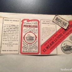 Etiquetas antigas: ANTIGUA ETIQUETA PUBLICITARIA - ESMALTINA PEERLESS GLOSS S. RICART BARCELONA. Lote 210636939