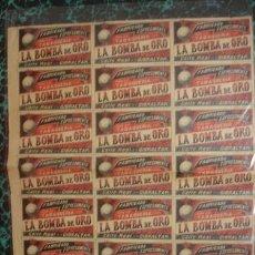 Etiquetas antiguas: PUBLICIDAD LA BOMBA DE ORO TABAQUERIA - PORTAL DEL COL·LECCIONITA. Lote 211758096