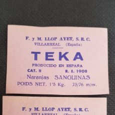 Etiquetas antiguas: TEKA SANGUINAS F.M.LLOP AYET. Lote 211774440