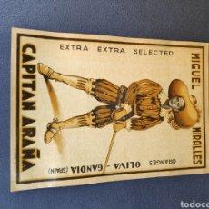 Etiquetas antiguas: ANTIGUA ETIQUETA NARANJAS CAPITÁN ARAÑA GANDIA. Lote 211806630