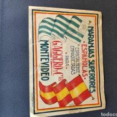 Etiquetas antiguas: ANTIGUA ETIQUETA NARANJAS GAGGERO MONTEVIDEO. Lote 211806925