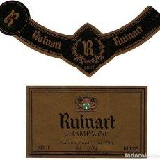 Etiquetas antiguas: CHAMPAGNE RUINART - LOTE DOS ETIQUETAS. Lote 211819501