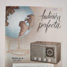 Etiquetas antiguas: ETIQUETA - LEOTONE - RADIO MODELO A. 5L - AÑO 1951 (RIPOLL). Lote 212413992