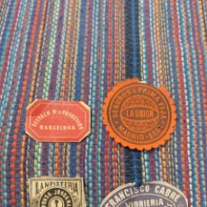 Etiquetas antiguas: CUATRO MUY ANTIGUAS ETIQUETAS BARCELONA MADRID LAMPISTERIA VIDRIERIA SEGUROS VER FOTOS. Lote 213226695