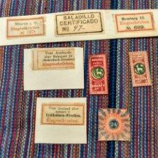 Etiquetas antiguas: OCHO ANTIGUAS ETIQUETAS. A CLASIFICAR IDENTIFICAR. Lote 213227711