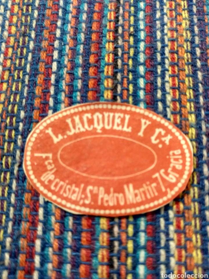 MUY ANTIGUA FABRICA DE CRISTAL L. JACQUEL Y CA. SAN PEDRO MARTIR GRACIA BARCELONA (Coleccionismo - Etiquetas)