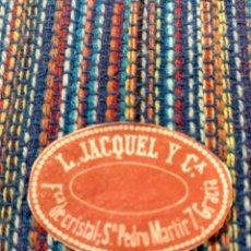 Etiquetas antiguas: MUY ANTIGUA FABRICA DE CRISTAL L. JACQUEL Y CA. SAN PEDRO MARTIR GRACIA BARCELONA. Lote 213228052