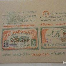 Etiquetas antigas: ANTIGUA ETIQUETA O ENVOLTORIO.LOS NARANJOS.CONDIMENTOS.AZAFRAN.VALENCIA. Lote 213733463