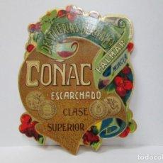 Etiquetas antiguas: ANTIGUA ETIQUETA BRANDY COÑAC, ESCARCHADO. Lote 214353462