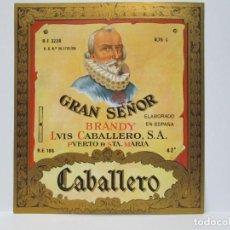 Etiquetas antiguas: ANTIGUA EITIQUETA BRANDY COÑAC, GRAN SEÑOR. Lote 214353625