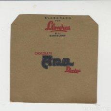 Etiquetas antiguas: LOTE A- ETIQUETA ENVOLTORIO CHOCOLATE CHOCOLATES LLOVERAS. Lote 214353986