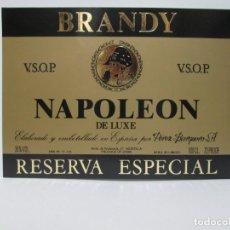 Etiquetas antiguas: ANTIGUA ETIQUETA BRANDY COÑAC, NAPOLEÒN. Lote 214354075