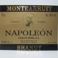 Etiquetas antiguas: ANTIGUA ETIQUETA BRANDY COÑAC, NAPOLEÒN.. Lote 214354236
