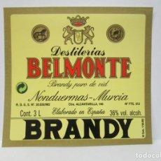 Etiquetas antiguas: ANTIGUA ETIQUETA BRANDY COÑAC, BELMONTE. Lote 214354475