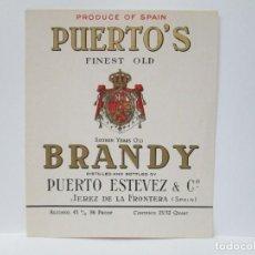 Etiquetas antiguas: ANTIGUA ETIQUETA BRANDY COÑAC, PUERTO'S. Lote 214354863