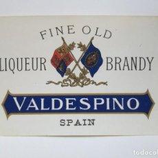 Etiquetas antiguas: ANTIGUA ETIQUETA BRANDY COÑAC,VALDESPINO. Lote 214355240